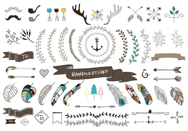 Collection set of hand sketched label ornament Free Vector