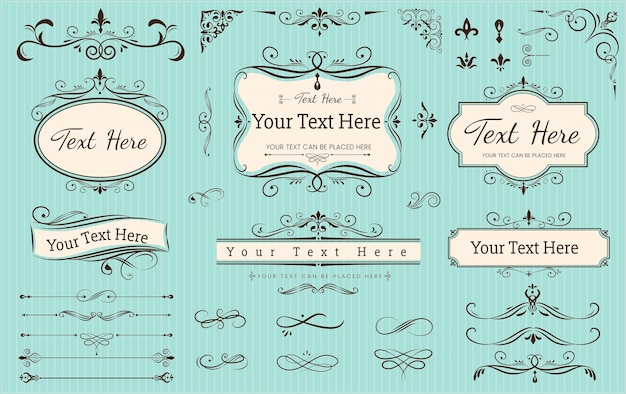 Collection set of label ornament Premium Vector