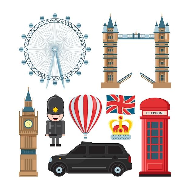 Collection set of london landmarks Premium Vector