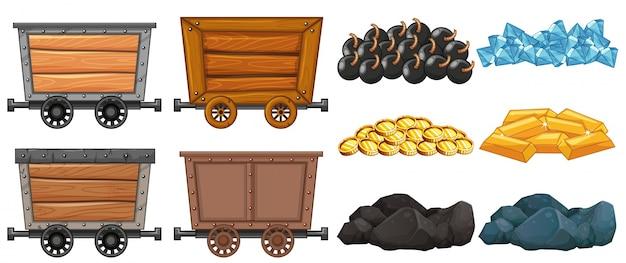 Collection set mining cart granite cargo Free Vector