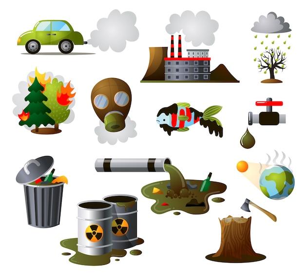 Комплект для сбора промышленных загрязнений. загрязнение окружающей среды, загрязнение заводского воздуха, экологические последствия деятельности человека. Premium векторы