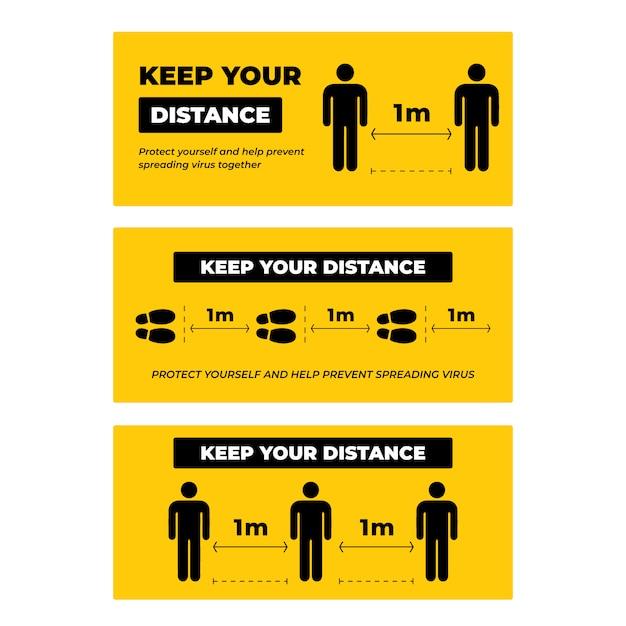 距離を保つ標識のコレクションセット Premiumベクター