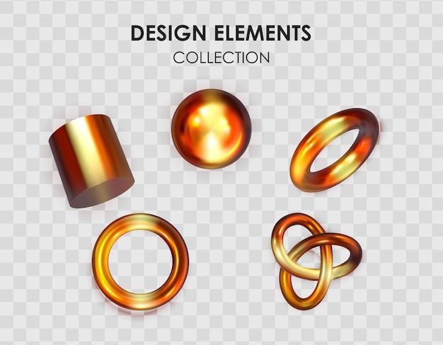 リアルな3dレンダリングメタリックカラーグラデーション幾何学的形状のコレクションセット Premiumベクター