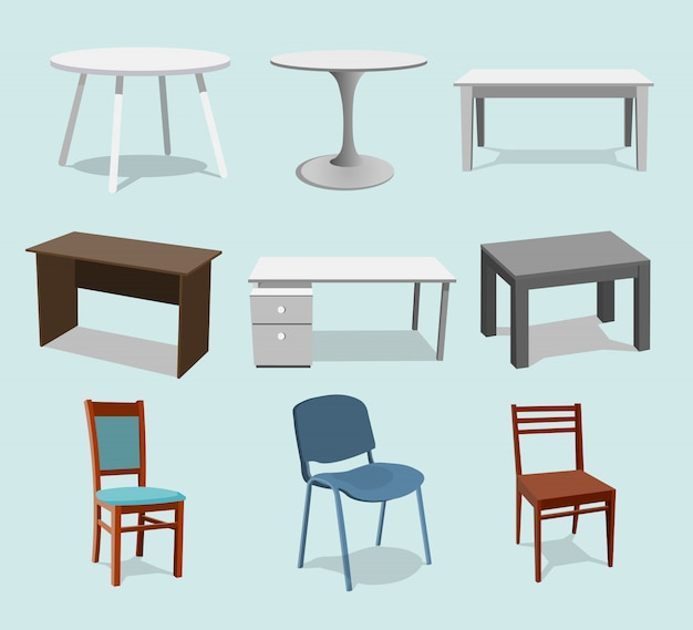 Collection set of tables Premium Vector