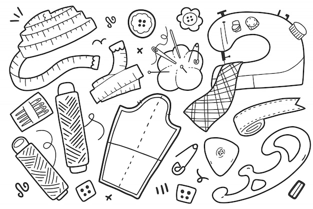 Collection of sewing clip arts Premium Vector