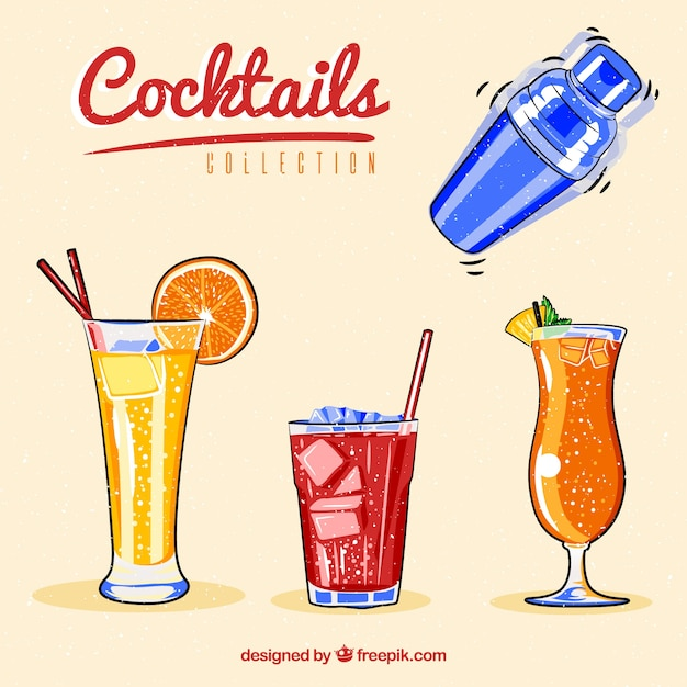 Collection of shaker and hand-drawn summer drinks Free Vector
