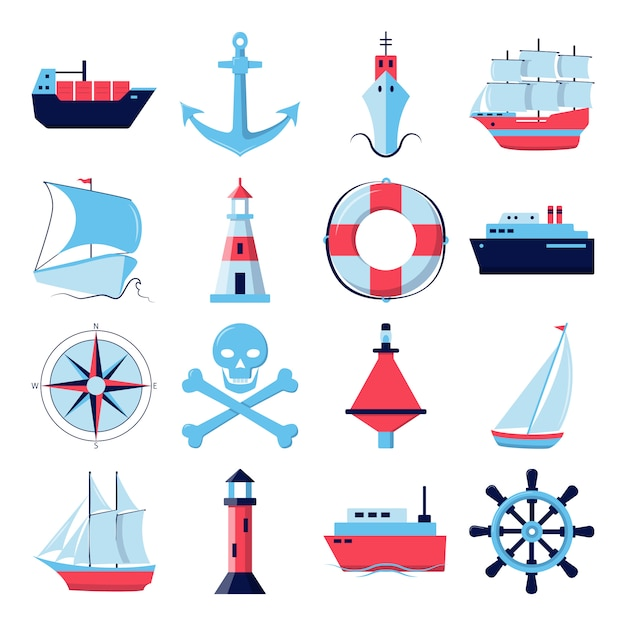 Collection of ship icons in flat style Premium Vector