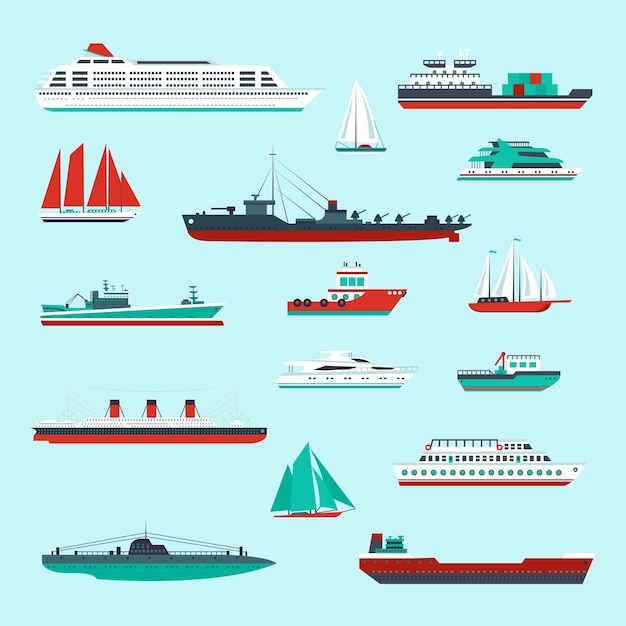 Collection of ships Free Vector