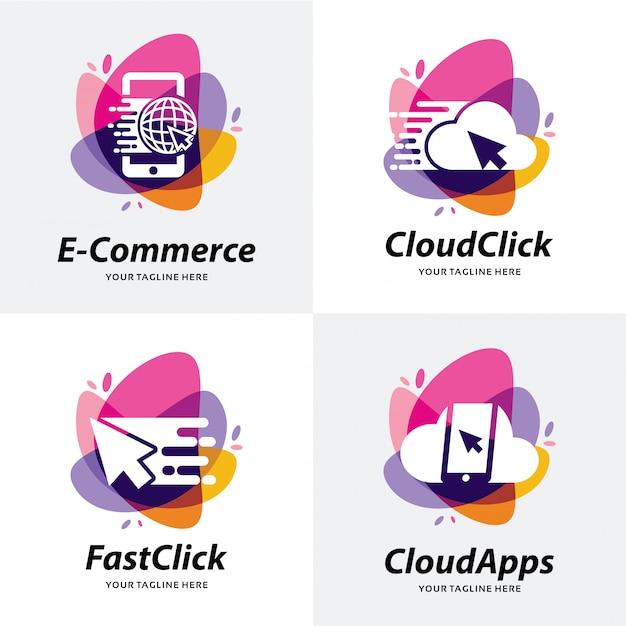 Collection of shop apps logo template design Premium Vector