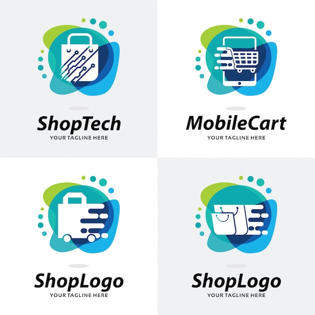 Collection of shop logo template design Premium Vector