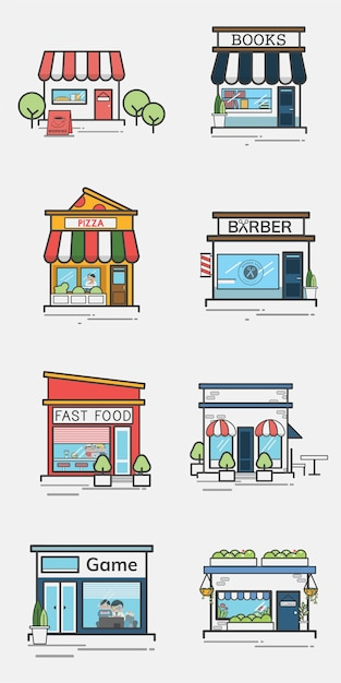 Collection of shops and stores Free Vector