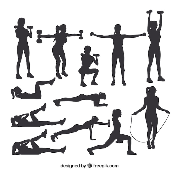 Collection of silhouettes doing sport Free Vector