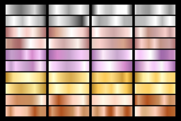 Collection of silver, chrome, gold, rose gold. bronze metallic and ultraviolet gradient. Premium Vector