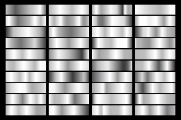 Collection of silver, chrome metallic gradient. brilliant plates with silver effect. Premium Vector
