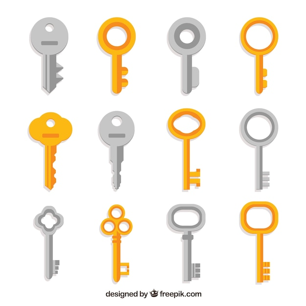 Collection of silver and golden keys Free Vector