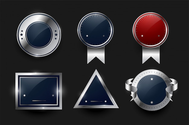 Collection of silver labels and badges Free Vector