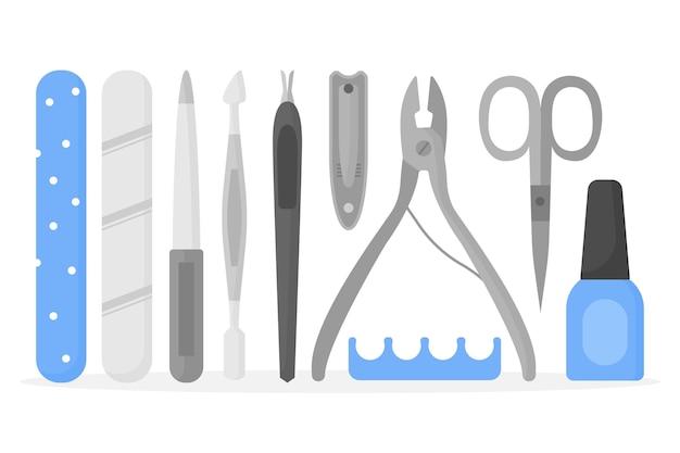 Collezione di strumenti per manicure argento Vettore gratuito