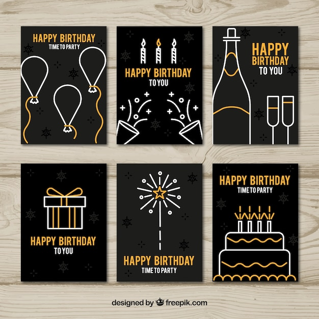 Collection of six birthday cards in black and golden Free Vector