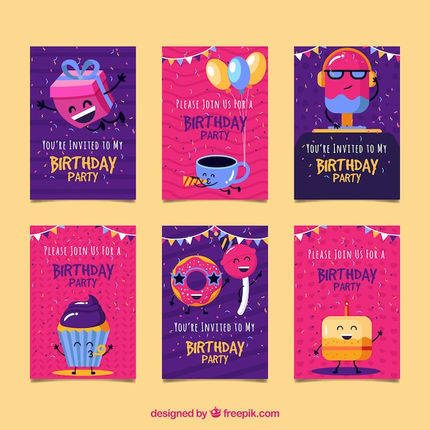Collection of six birthday cards Free Vector