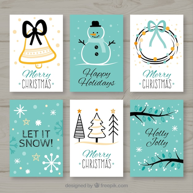 Collection of six christmas cards in white and turquoise Free Vector