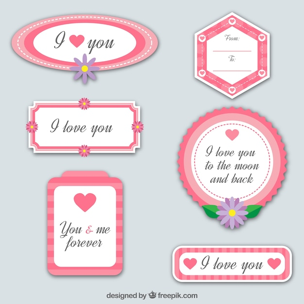 Collection of six love frames Free Vector