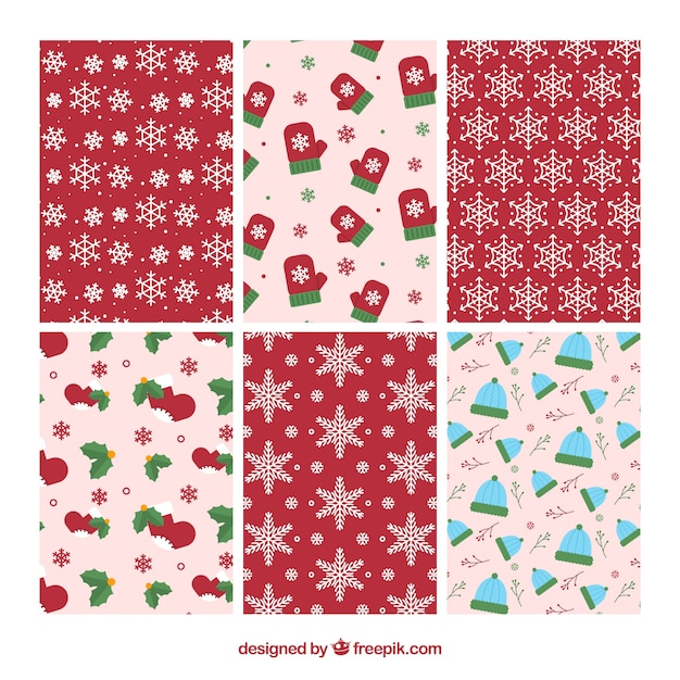 Collection of six nice christmas patterns Free Vector