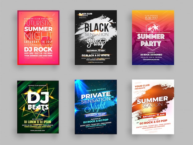Collection of six summer party flyer Premium Vector