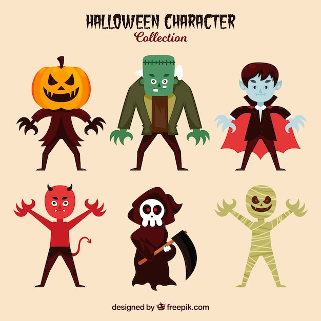 Collection of six typical characters of halloween Free Vector