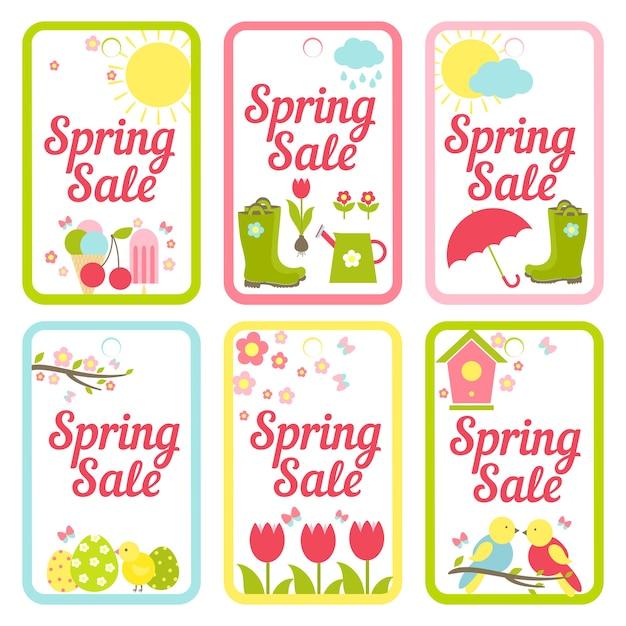 Raccolta di sei disegni vettoriali per i saldi di primavera raffiguranti il gelato del tempo che fa giardinaggio tulipani pasquali e uccelli per la pubblicità e la stampa in semplici cornici rettangolari Vettore gratuito