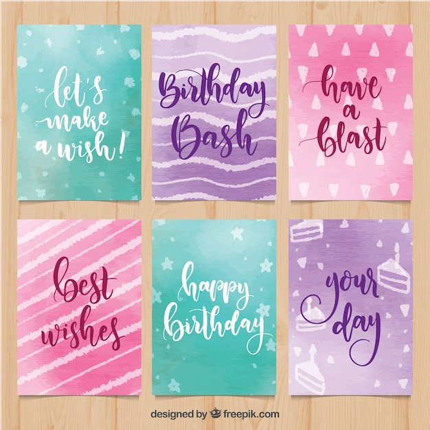 Collection of six watercolour birthday cards Free Vector