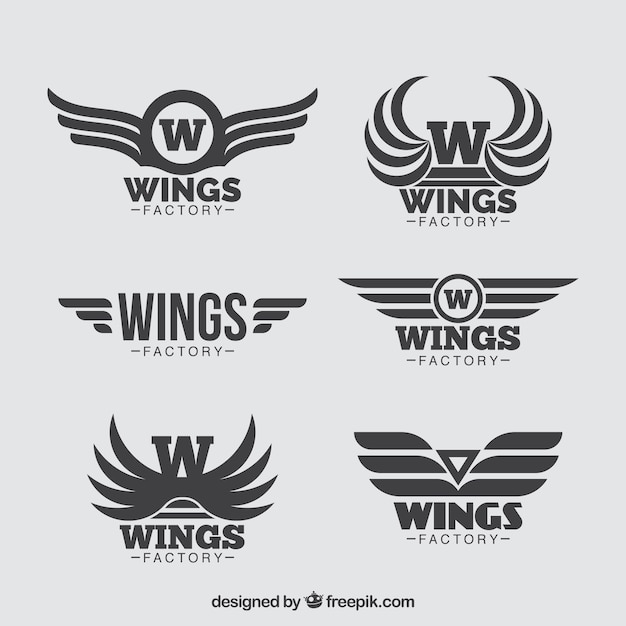 Collection of six wings logos in flat design Premium Vector