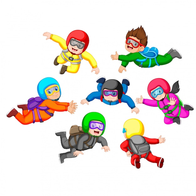 Collection of skydiving with different position Premium Vector
