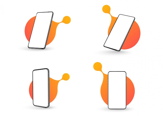 A collection of smartphones at different angles. Premium Vector