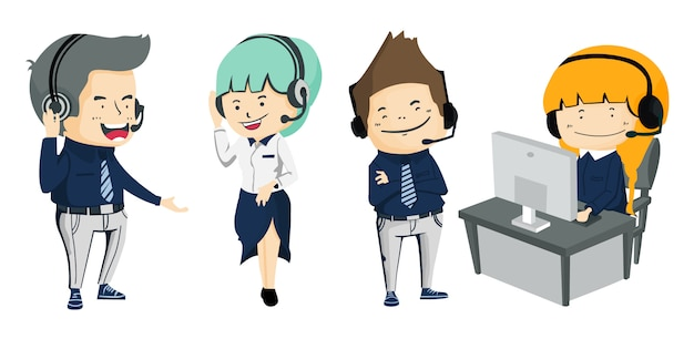 Collection of smiling male and female operator with headset working at call center Premium Vector