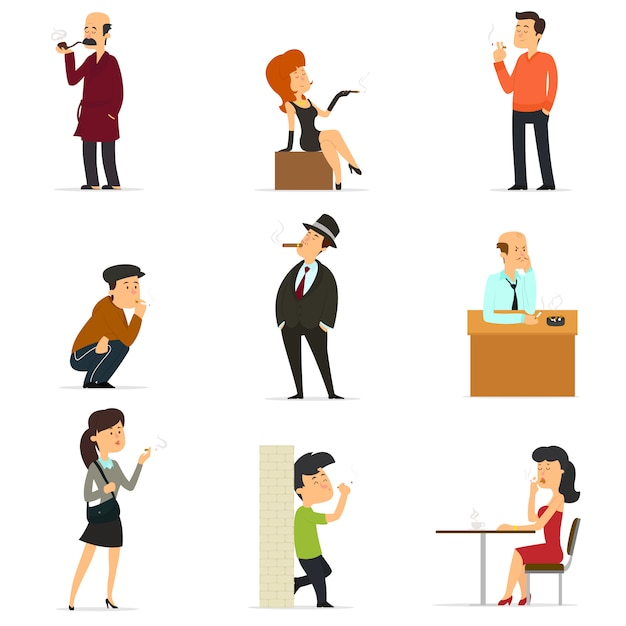 Collection of smoking people Premium Vector
