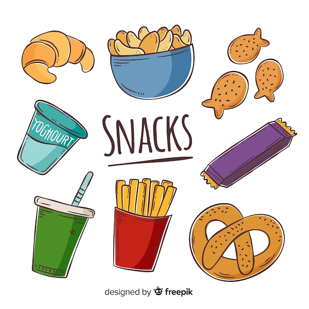 Collection of snacks Free Vector