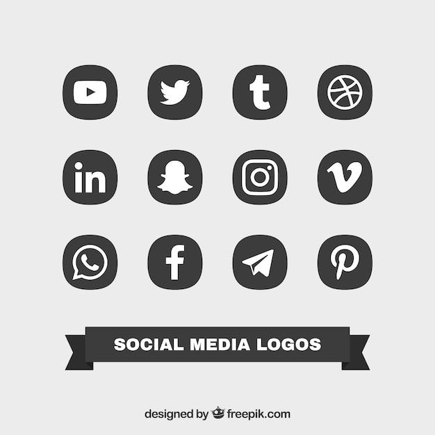 Collection of social logos Premium Vector
