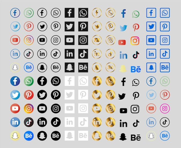Collection of social media icons with gradients and gold Free Vector
