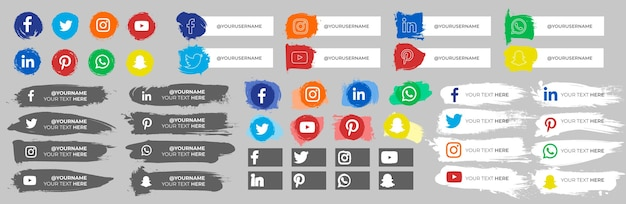 Raccolta di icone dei social media con tratti Vettore gratuito