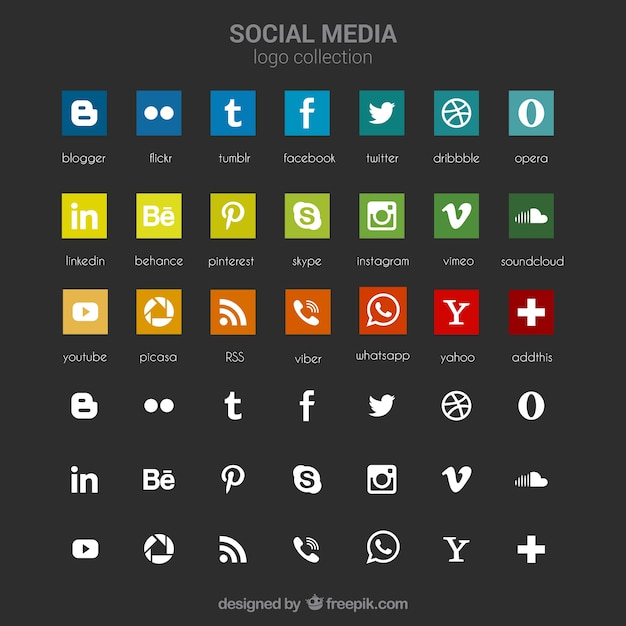Collection of social media icons Premium Vector