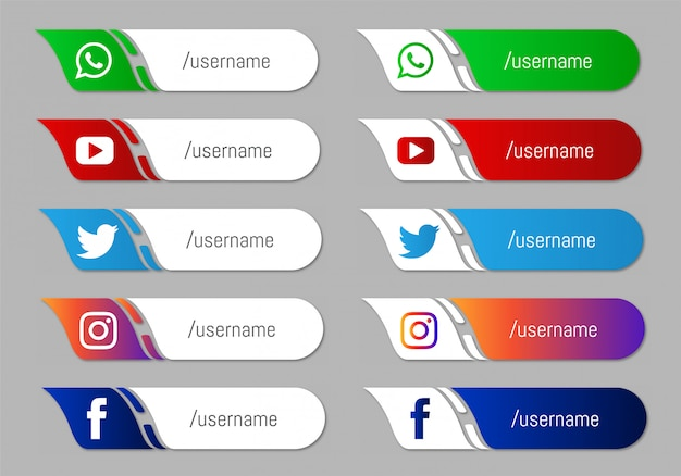 Collection of social media lower third icons Free Vector