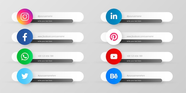Collection of social media lower thirds Free Vector