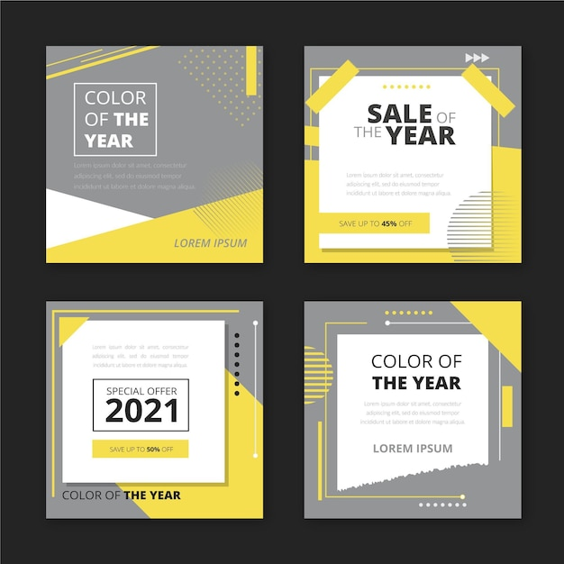 Collection of social media post sale template Free Vector
