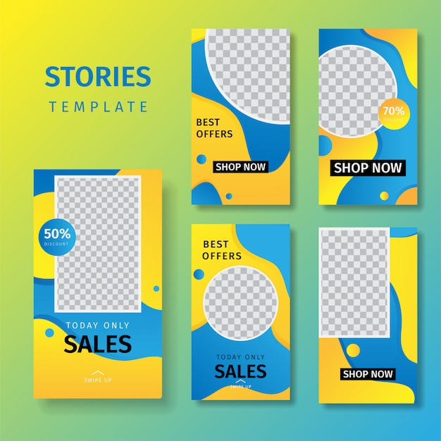 Collection of social media stories selling banner backgrounds Premium Vector