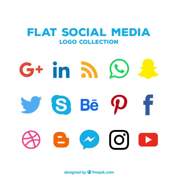 Collection of social networking icons in flat design Free Vector