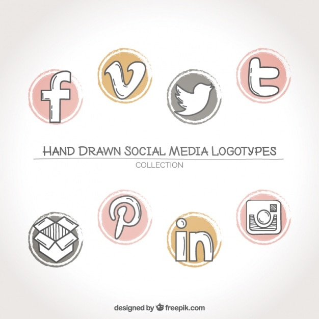 Collection of social networks logos Free Vector