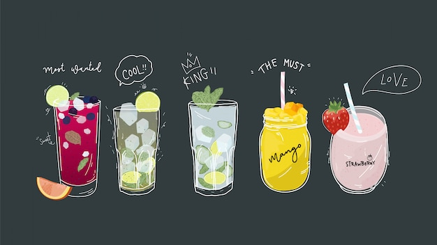 Collection of soft drinks and healthy detox beverages. Premium Vector