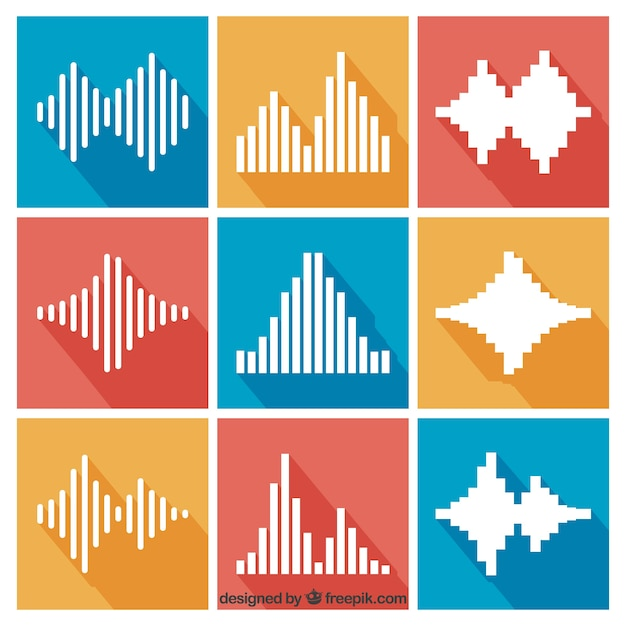 Collection of sound waves in flat design Premium Vector
