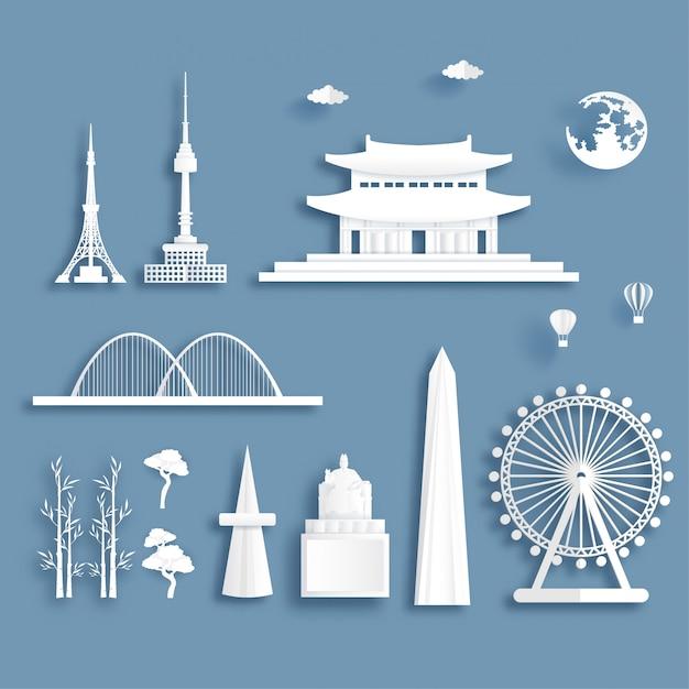Collection of south korea famous landmarks Premium Vector