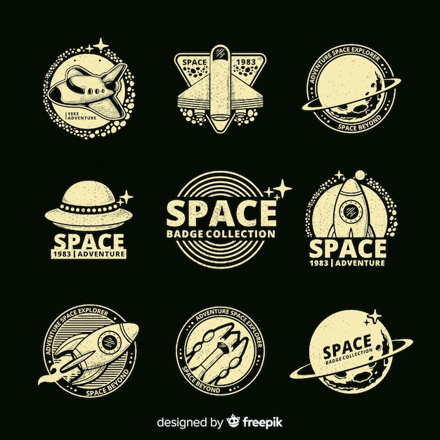 Collection of space badges Free Vector